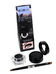 ADS Jet Black 2 In 1 Black Color Eyeliner Gel And Eye Powder