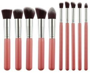 Generic Foundation Eyeshadow Makeup Brush Pink Set Of 10