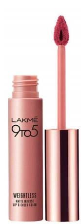 Lakme 9 To 5 Weightless Mousse Lip And Cheek Color Plum Feather 9g
