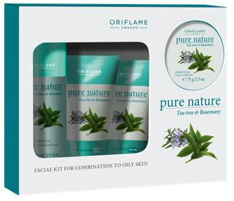 ORIFLAME Pure Nature Tea Tree And Rosemary Facial Kit For Combination To Oily Skin 75g
