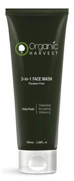Organic Harvest 3 In 1 Face Wash Cleansing Scrubbing Whitening Parabens Sulphate Free