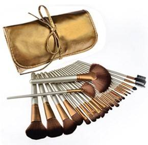 Tribecca 24pcs Makeup Brush Set 24 Professional Makeup Brushes Kit Golden Beige Wooden Handle With Leather Pouch