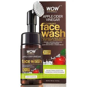 WOW Skin Science Apple Cider Vinegar Foaming Face Wash No Parabens Sulphate Silicones With Built In Brush