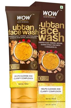 WOW Skin Science Ubtan Face Wash With Chickpea Flour Turmeric Saffron Almond Extract Rose Water Sandalwood Oil